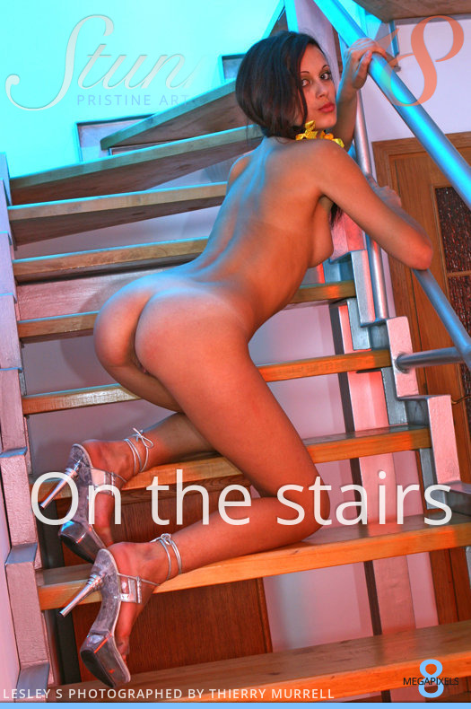 On the stairs